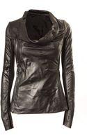 Rick Owens Zip Cowl Leather Jacket - Lyst