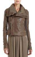 Rick Owens Draped Leather Jacket - Lyst