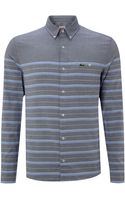Lacoste Live Slim Fitted Striped Pocket Detail Shirt - Lyst