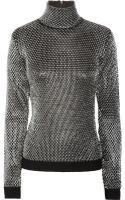 Versace Knitted Metallic Lattice Sweater - Lyst
