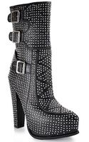 Jeffrey Campbell Sirius Black Leather Studded Platform Bootie - Lyst