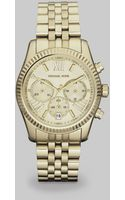Michael Kors Lexington Round Goldtone Stainless Steel Chronograph Bracelet Watch - Lyst