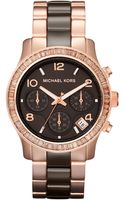Michael Kors Espresso Ceramic and Rose Golden Stainless Steel Runway Chronograph Glitz Watch - Lyst