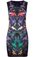 McQ by Alexander McQueen Black Humingbird Print Sleeveless Silk Dress - Lyst
