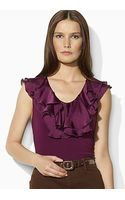 Lauren by Ralph Lauren Alize Sleeveless Woven Ruffle V Neck Top - Lyst