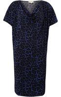 Michael by Michael Kors Cowl Neck Leopard Print Dress - Lyst