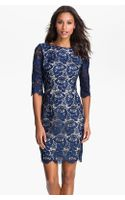 Eliza J Embroidered Lace Overlay Shift Dress - Lyst