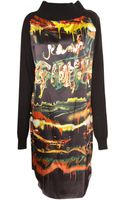 Jean Paul Gaultier Silk Print Long Sleeve Dress Black - Lyst