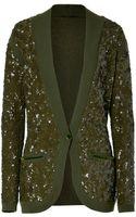 L'Wren Scott Olive Vneck Sequined Cashmere Cardigan - Lyst