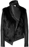 Helmut Lang Black Combo Leather Fur Jacket - Lyst