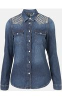 Topshop Dillon Studded Denim Shirt - Lyst