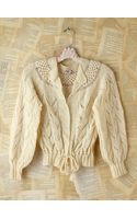 Free People Vintage Cream Knit Sweater - Lyst