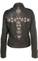 Topshop Cross Embroidered Biker Jacket - Lyst