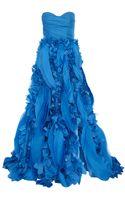 Monique Lhuillier Strapless Gown - Lyst