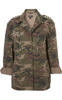 Topshop Cone Stud Camo Jacket - Lyst