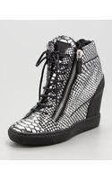 Giuseppe Zanotti Snakeprint Wedge Sneaker - Lyst
