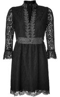 Anna Sui Black Embroidered Botanic Lace Dress - Lyst