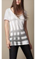 Burberry Spray Check Cotton T-Shirt - Lyst