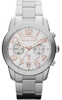 Michael Kors Midsize Silver Color Stainless Steel Mercer Chronograph Watch - Lyst