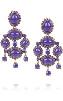 Oscar de la Renta 24karat Gold Plated Cabochon Clip Earrings - Lyst