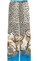 Roberto Cavalli Printed Silk Crepe De Chine Pants - Lyst