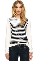 Michael by Michael Kors Sequin-stripe Sweater - Lyst