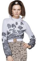 Oscar de la Renta Chantilly Lace Blouse - Lyst