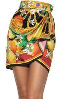 Dolce & Gabbana Printed Silk Twill Mini Skirt - Lyst