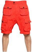DSquared2 Dyed Military Cargo Cotton Canvas Shorts - Lyst