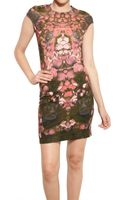 McQ by Alexander McQueen Cap Sleeve Printed Stretch Jersey Dress - Lyst