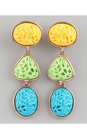 Oscar de la Renta Carved Cabochon Earrings Pastel - Lyst
