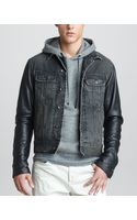 Rag & Bone Leather Sleeve Denim Jacket - Lyst