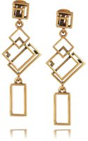 Oscar de la Renta 24karat Gold-plated Geometric Link Clip Earrings - Lyst