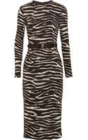 Michael Kors Belted Zebraprint Stretchcrepe Dress - Lyst