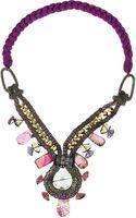 Oscar de la Renta Stone Embellished Rhodium Plated Necklace - Lyst