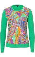 Ralph Lauren Black Grass Silk Front Cashmere Pullover - Lyst