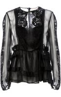 Emilio Pucci Lace Tiered Sheer Blouse - Lyst