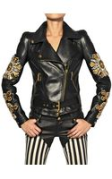Fausto Puglisi Embroidered Nappa Leather Biker Jacket - Lyst