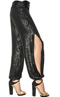 Jay Ahr Sequined Silk Georgette Trousers - Lyst