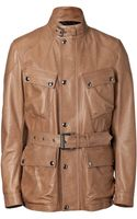 Belstaff Mocha Leather Preston Luxe Trialmaster Jacket - Lyst