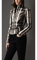 Burberry Check Quilted Peplum Jacket - Lyst