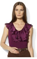 Lauren by Ralph Lauren Cotton Sleeveless Ruffled Top - Lyst