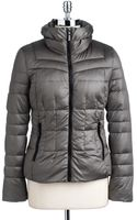 Bernardo Iridescent Hooded Quilted Down Jacket - Lyst