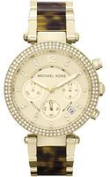 Michael Kors Parker Tortoise and Goldtone Stainless Steel Round Chronograph Watch - Lyst