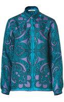 Etro Turquoisevioletmulti Printed Silk Blouse - Lyst