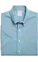 Brooks Brothers Non Iron Regular Fit Short Sleeve Tonal Check Sport Shirt - Lyst