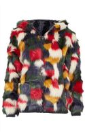 Topshop Patchwork Faux Fur Hooded Coat - Lyst