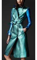 Burberry Prorsum Metallic Leather Trench Coat - Lyst