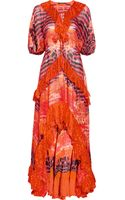 Roberto Cavalli Printed Silk chiffon Kaftan Gown - Lyst