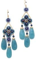 Miguel Ases Blue Quartz Chandelier Earrings - Lyst